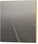 Tracks In The Fog  Wood Print