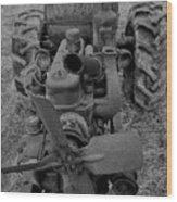 Tractor Bw Wood Print