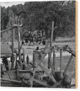 Tractor Graveyard Wood Print