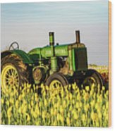 Tractor In A Field Wood Print