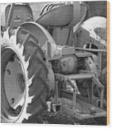 Tractor In Black And White  Wood Print