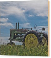 Tractor In Field Wood Print