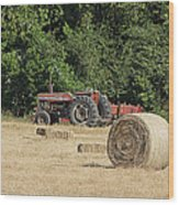 Tractor In The Hay Field Wood Print