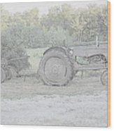 Tractor   Pencil Drawing Wood Print
