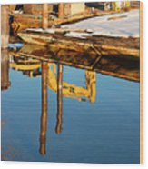 Tractor Reflections Wood Print