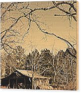 Tractor Shed Wood Print by Patricia Motley