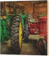 Tractors At Rest - John Deere - Mccormick - Farmall - Farm Equipment - Nostalgia - Vintage Wood Print