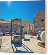 Traditional Dalmatian Town Of Tisno Square Wood Print