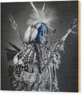 traditional dancer Blue Wood Print