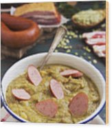 Traditional Dutch Pea Soup And Ingredients On A Rustic Table Wood Print