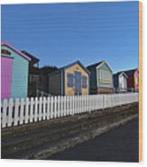 Traditional English Beach Huts Wood Print