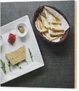 Traditional French Foie Gras Pate And Toast Starter Snack Platte Wood Print