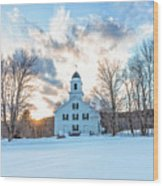 Traditional New England White Church Etna New Hampshire Wood Print