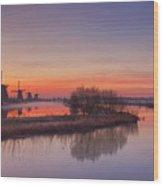 Traditional Windmills At Sunrise, Kinderdijk, The Netherlands Wood Print