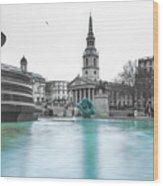 Trafalgar Square Fountain London 3 Wood Print