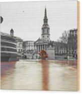 Trafalgar Square Fountain London 3b Wood Print