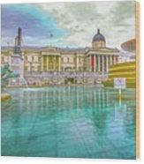 Trafalgar Square Fountain London 4 Wood Print