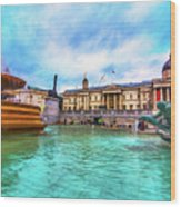 Trafalgar Square Fountain London 5 Art Wood Print