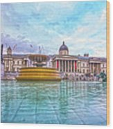 Trafalgar Square Fountain London 8 Wood Print