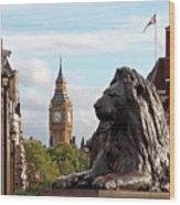 Trafalgar Square Lion With Big Ben Wood Print