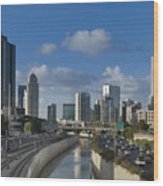 Traffic Flowing In And Out Of Downtown Tel Aviv Wood Print