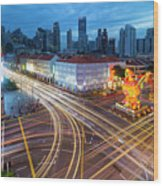 Traffic Light Trails In Singapore Chinatown Wood Print