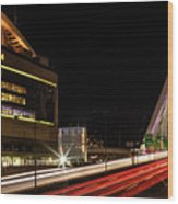 Traffic Racing Over Zakim Bridge Wood Print
