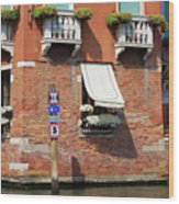 Traffic Signs On The Canal In Venice Italy Wood Print