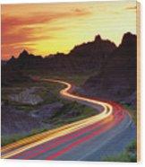 Traffice On Highway, Sunset (long Exposure) Wood Print