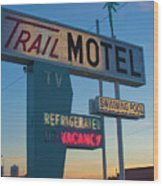 Trail Motel At Sunset Wood Print
