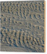 Trails In The Sand Wood Print
