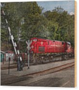 Train - Diesel - Look Out For The Locomotive  Wood Print by Mike Savad