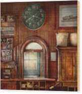 Train - Office - The Ticket Takers Window Wood Print
