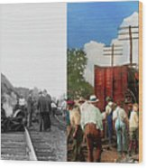 Train - Accident - Butting Heads 1922 - Side By Side Wood Print
