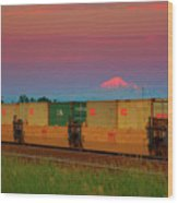 Train And Mount Baker Wood Print
