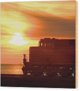 Train And Sunset Wood Print