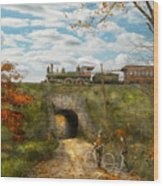 Train - Arlington Nj - Enjoying The Autumn Day - 1890 Wood Print