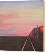 Train At Sundown Wood Print