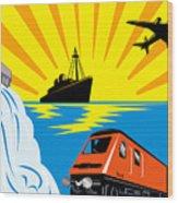 Train Boat Plane And Dam Wood Print
