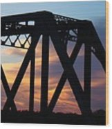 Train Bridge Sunset Wood Print