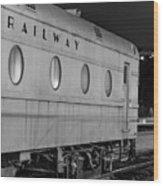 Train Car, Black And White Wood Print