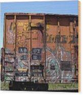 Train Car Graffiti 1 Wood Print