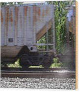 Train Cars With Light Spots Wood Print