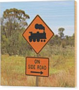 Train Engine Locomotive Sign Wood Print