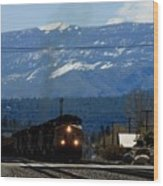 Train Entering Truckee California Wood Print