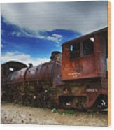 Train Graveyard Uyuni Bolivia 15 Wood Print