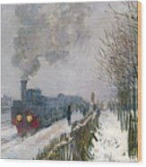 Train In The Snow Or The Locomotive Wood Print