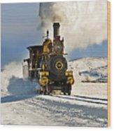 Train In Winter Wood Print