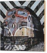 Train Mural Wood Print