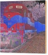 Train On Railroad Tracks - Abstract In Blue And Red Wood Print